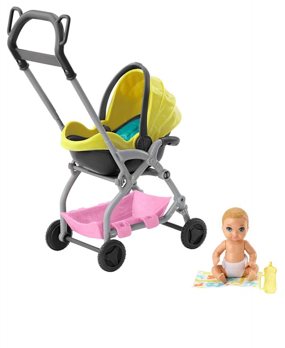 Barbie Żółty wózek spacerowy z lalką FXG94 GFC18